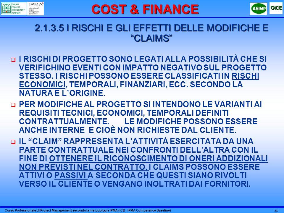 Corso Professionale di Project Management secondo la metodologia IPMA (ICB - IPMA Competence Baseline) OICE 36 2.1.3.5 I RISCHI E GLI EFFETTI DELLE MO