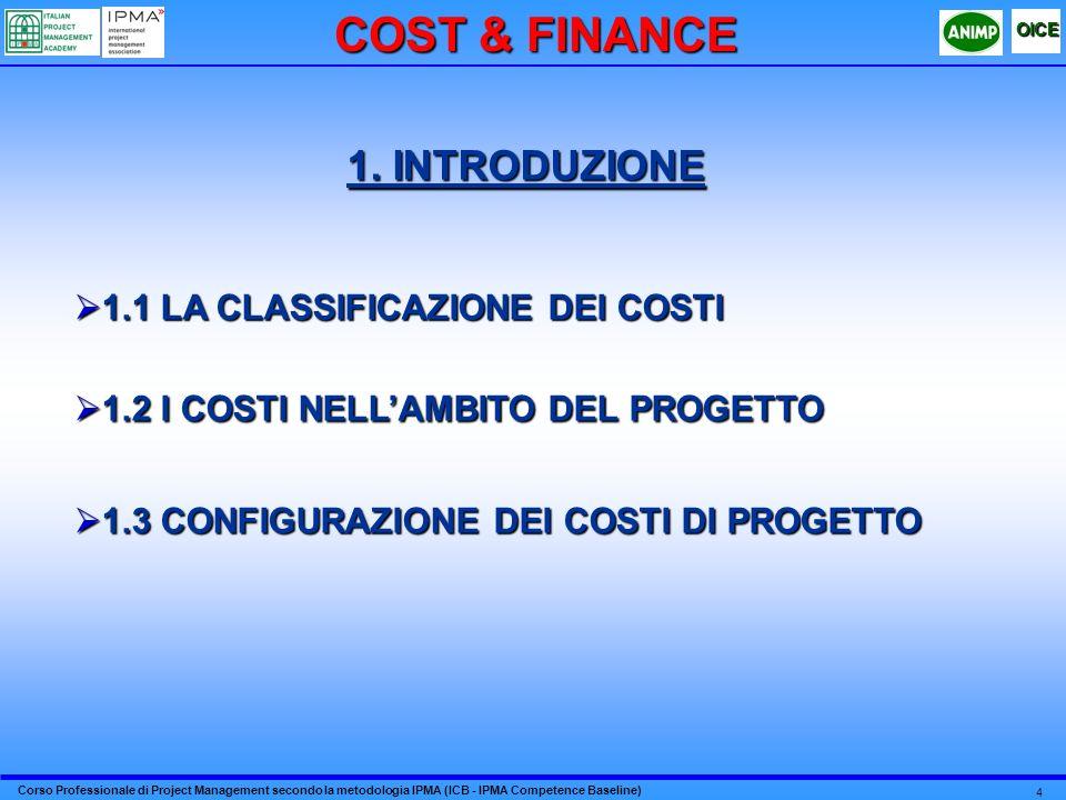 Corso Professionale di Project Management secondo la metodologia IPMA (ICB - IPMA Competence Baseline) OICE 4 1. INTRODUZIONE 1.1 LA CLASSIFICAZIONE D