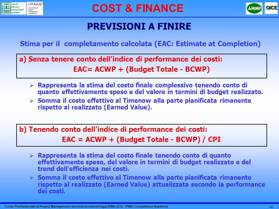 Corso Professionale di Project Management secondo la metodologia IPMA (ICB - IPMA Competence Baseline) OICE 45 Stima per il completamento calcolata (EAC: Estimate at Completion) Rappresenta la stima del costo finale complessivo tenendo conto di quanto effettivamente speso e del valore in termini di budget realizzato.