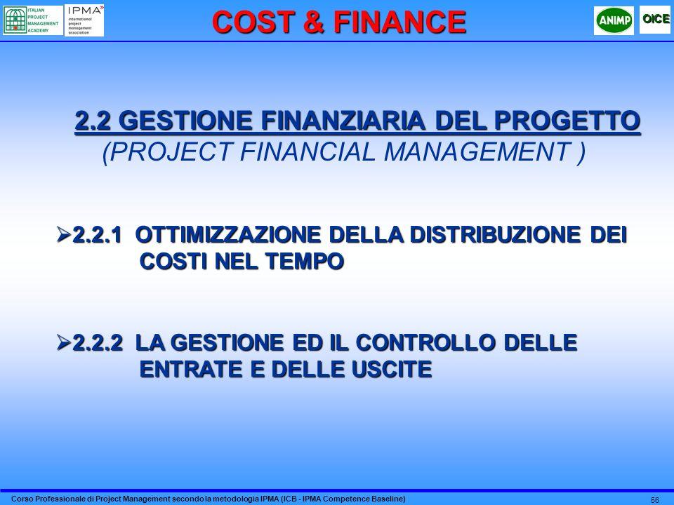 Corso Professionale di Project Management secondo la metodologia IPMA (ICB - IPMA Competence Baseline) OICE 56 2.2 GESTIONE FINANZIARIA DEL PROGETTO (PROJECT FINANCIAL MANAGEMENT ) 2.2.1 OTTIMIZZAZIONE DELLA DISTRIBUZIONE DEI COSTI NEL TEMPO 2.2.1 OTTIMIZZAZIONE DELLA DISTRIBUZIONE DEI COSTI NEL TEMPO 2.2.2 LA GESTIONE ED IL CONTROLLO DELLE ENTRATE E DELLE USCITE 2.2.2 LA GESTIONE ED IL CONTROLLO DELLE ENTRATE E DELLE USCITE COST & FINANCE