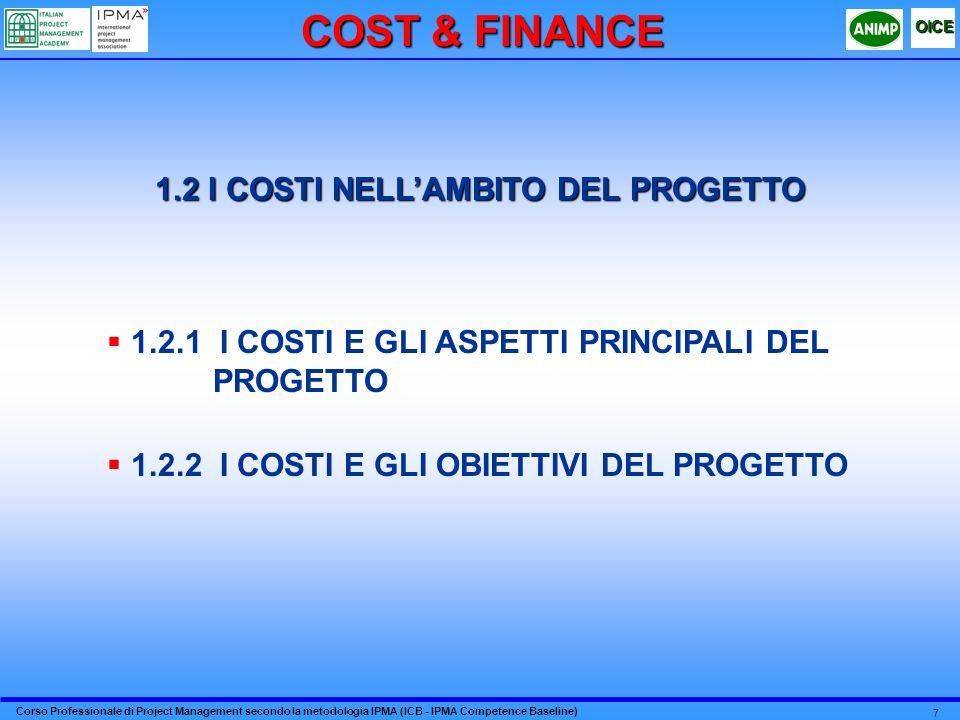 Corso Professionale di Project Management secondo la metodologia IPMA (ICB - IPMA Competence Baseline) OICE 7 1.2 I COSTI NELLAMBITO DEL PROGETTO 1.2.1 I COSTI E GLI ASPETTI PRINCIPALI DEL PROGETTO 1.2.2 I COSTI E GLI OBIETTIVI DEL PROGETTO COST & FINANCE
