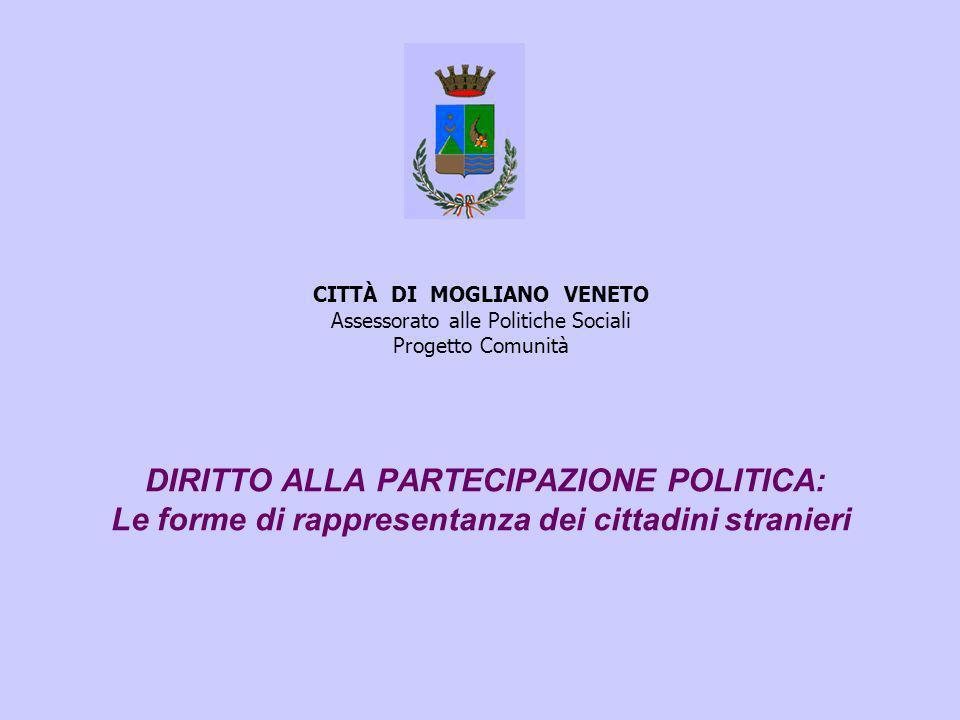 CITTÀ DI MOGLIANO VENETO Assessorato alle Politiche Sociali Progetto Comunità DIRITTO ALLA PARTECIPAZIONE POLITICA: Le forme di rappresentanza dei cittadini stranieri