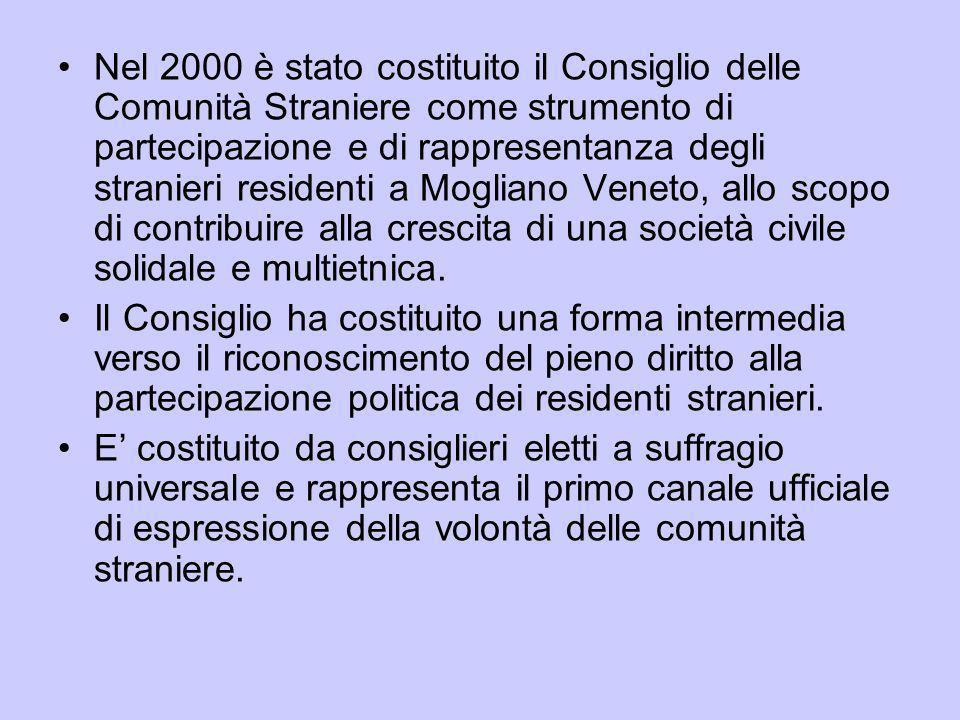 Nel 2000 è stato costituito il Consiglio delle Comunità Straniere come strumento di partecipazione e di rappresentanza degli stranieri residenti a Mogliano Veneto, allo scopo di contribuire alla crescita di una società civile solidale e multietnica.
