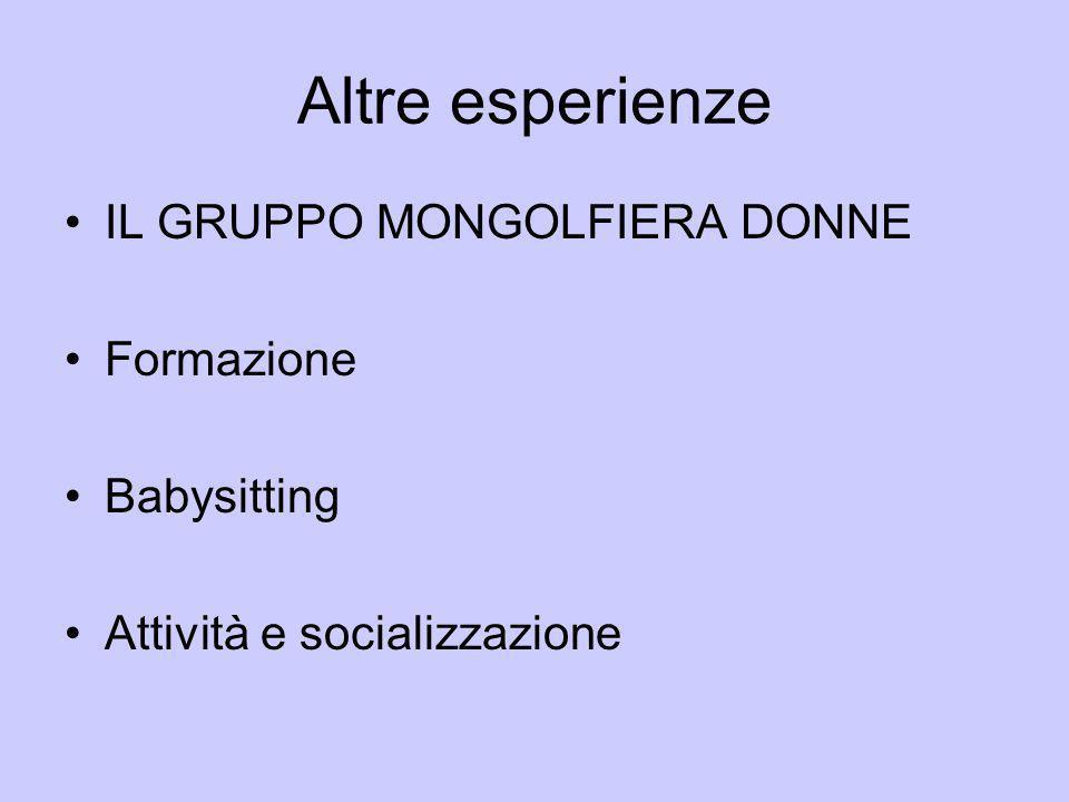 Altre esperienze IL GRUPPO MONGOLFIERA DONNE Formazione Babysitting Attività e socializzazione