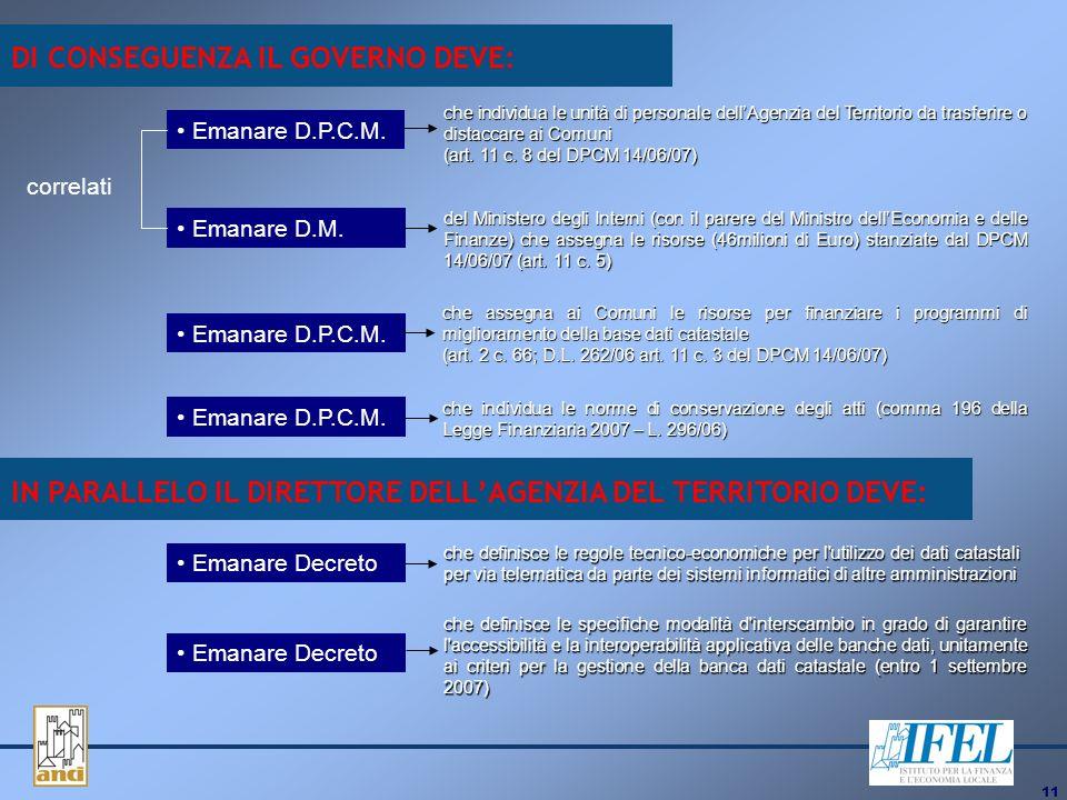 11 DI CONSEGUENZA IL GOVERNO DEVE: che individua le unità di personale dellAgenzia del Territorio da trasferire o distaccare ai Comuni (art.