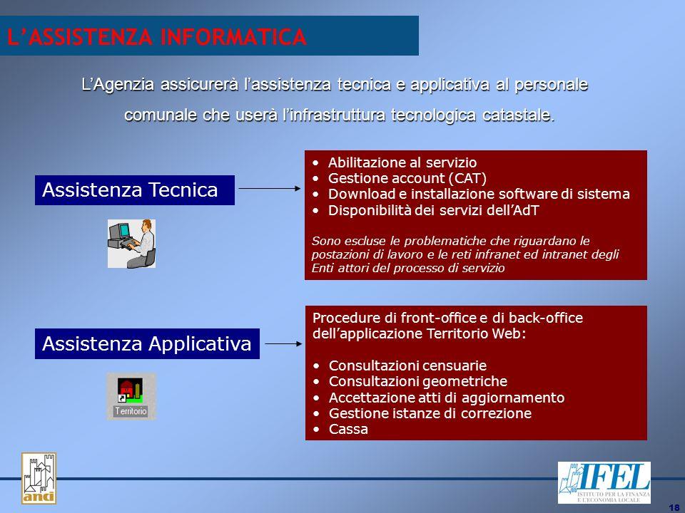 18 LASSISTENZA INFORMATICA LAgenzia assicurerà lassistenza tecnica e applicativa al personale comunale che userà linfrastruttura tecnologica catastale.