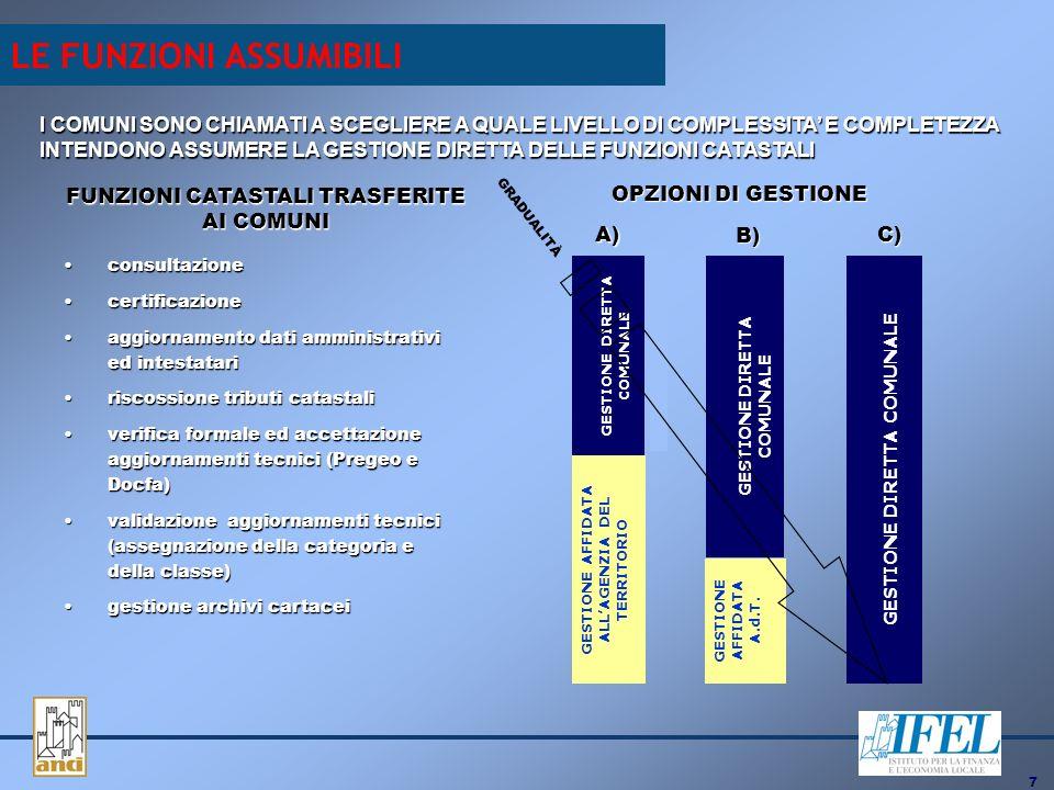 7 FUNZIONI CATASTALI TRASFERITE AI COMUNI consultazioneconsultazione certificazionecertificazione aggiornamento dati amministrativi ed intestatariaggiornamento dati amministrativi ed intestatari riscossione tributi catastaliriscossione tributi catastali verifica formale ed accettazione aggiornamenti tecnici (Pregeo e Docfa)verifica formale ed accettazione aggiornamenti tecnici (Pregeo e Docfa) validazione aggiornamenti tecnici (assegnazione della categoria e della classe)validazione aggiornamenti tecnici (assegnazione della categoria e della classe) gestione archivi cartaceigestione archivi cartacei OPZIONI DI GESTIONE GESTIONE DIRETTA COMUNALE GESTIONE AFFIDATA ALLAGENZIA DEL TERRITORIO A) GESTIONE DIRETTA COMUNALE GESTIONE AFFIDATA A.d.T.