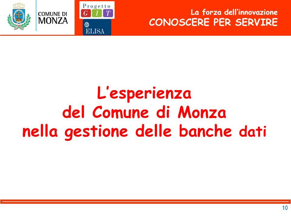 10 La forza dellinnovazione CONOSCERE PER SERVIRE Lesperienza del Comune di Monza nella gestione delle banche dati