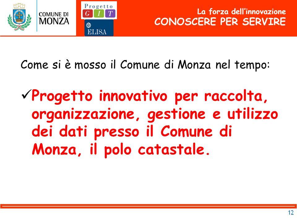12 Come si è mosso il Comune di Monza nel tempo: Progetto innovativo per raccolta, organizzazione, gestione e utilizzo dei dati presso il Comune di Monza, il polo catastale.
