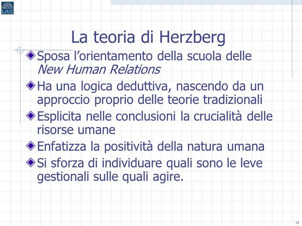 17 La motivazione: le teorie di contenuto La teoria di Herzberg