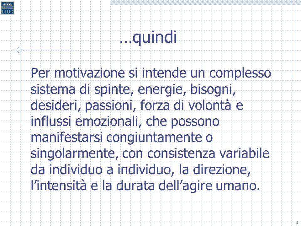 23 Il disagio dei fattori motivanti Se non soddisfatti, i fattori motivanti producono insoddisfazione minore, ma è solo la loro presenza che genera motivazione in senso pieno.