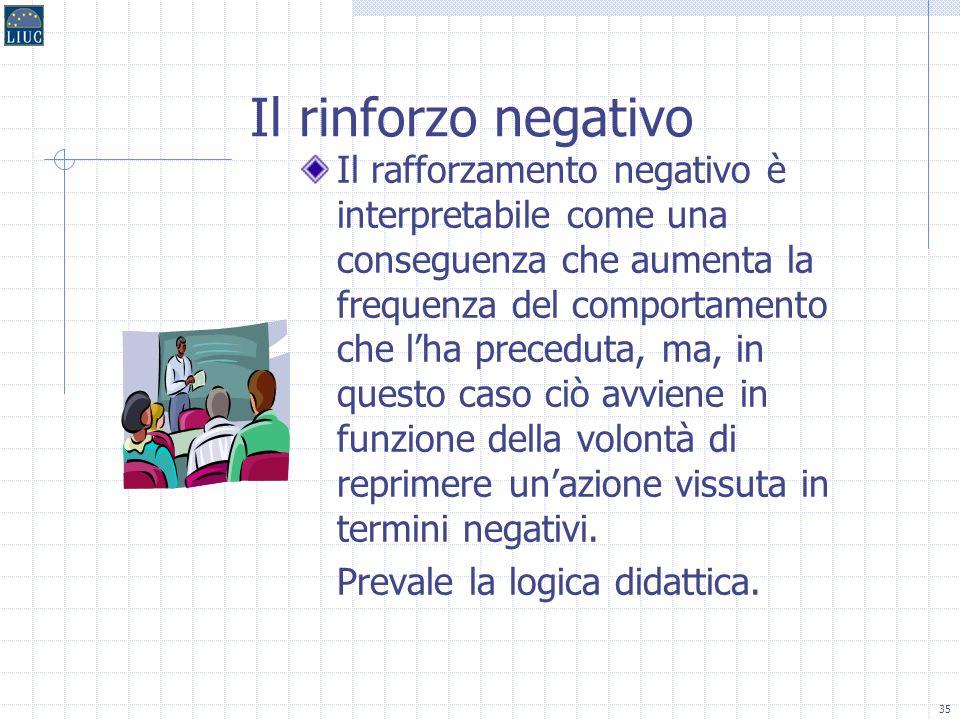 34 Il rinforzo positivo Il rinforzo positivo tende ad aumentare la continuità di manifestazione di una data azione realizzativa come stretta conseguen