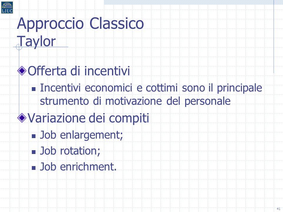 40 I modelli del contenuto del lavoro Il modello classico (meccanico) Il modello post-classico (organico) La motivazione intrinseca