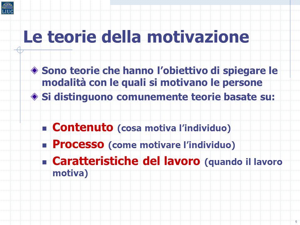 6 Le teorie della motivazione Sono teorie che hanno lobiettivo di spiegare le modalità con le quali si motivano le persone Si distinguono comunemente teorie basate su: Contenuto (cosa motiva lindividuo) Processo (come motivare lindividuo) Caratteristiche del lavoro (quando il lavoro motiva)