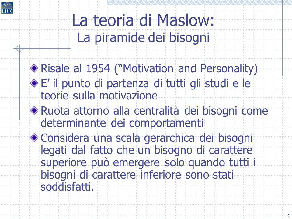 9 La teoria di Maslow: La piramide dei bisogni Risale al 1954 (Motivation and Personality) E il punto di partenza di tutti gli studi e le teorie sulla motivazione Ruota attorno alla centralità dei bisogni come determinante dei comportamenti Considera una scala gerarchica dei bisogni legati dal fatto che un bisogno di carattere superiore può emergere solo quando tutti i bisogni di carattere inferiore sono stati soddisfatti.
