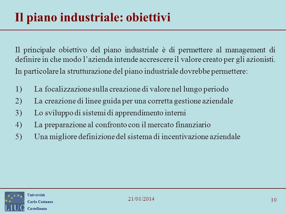 Università Carlo Cattaneo Castellanza 21/01/2014 10 Il piano industriale: obiettivi Il principale obiettivo del piano industriale è di permettere al management di definire in che modo lazienda intende accrescere il valore creato per gli azionisti.
