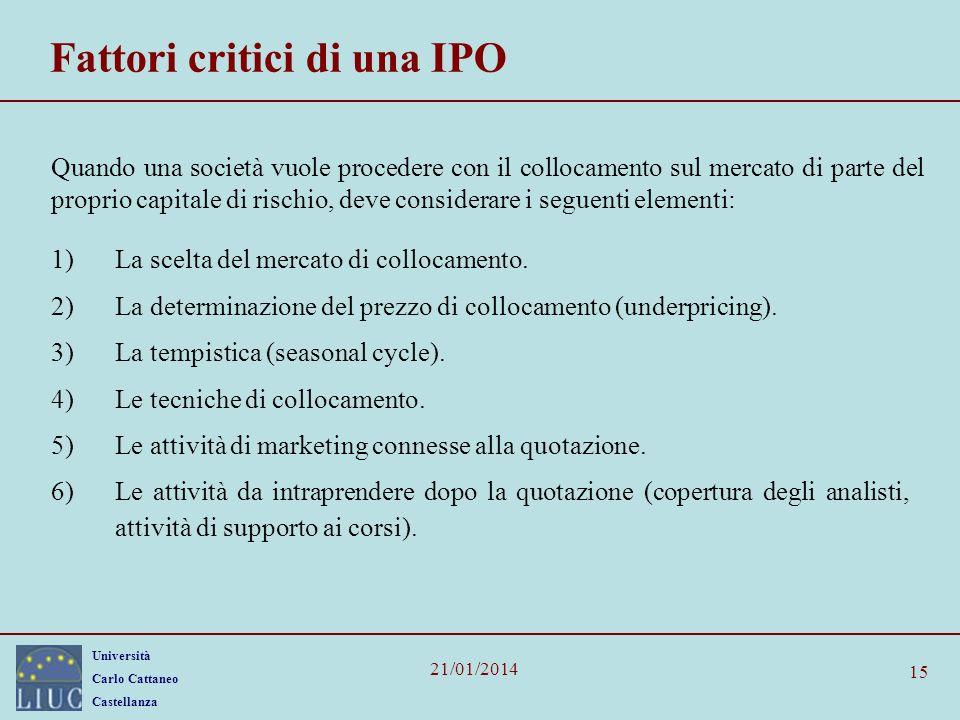 Università Carlo Cattaneo Castellanza 21/01/2014 15 Fattori critici di una IPO Quando una società vuole procedere con il collocamento sul mercato di parte del proprio capitale di rischio, deve considerare i seguenti elementi: 1)La scelta del mercato di collocamento.
