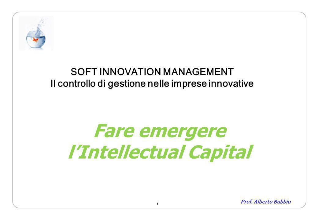 1 Fare emergere lIntellectual Capital Prof. Alberto Bubbio SOFT INNOVATION MANAGEMENT Il controllo di gestione nelle imprese innovative