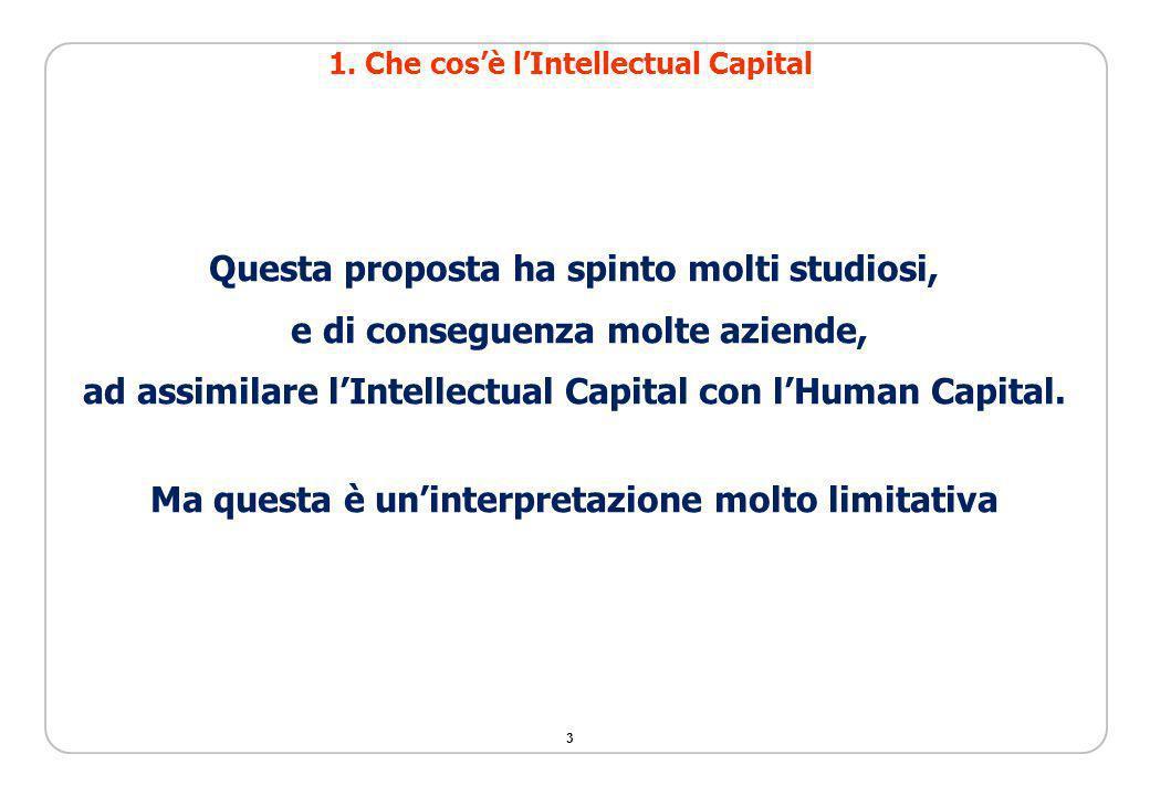 3 Questa proposta ha spinto molti studiosi, e di conseguenza molte aziende, ad assimilare lIntellectual Capital con lHuman Capital. Ma questa è uninte
