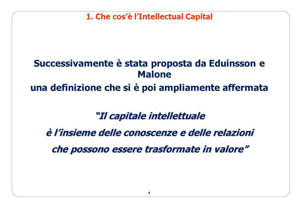 4 Successivamente è stata proposta da Eduinsson e Malone una definizione che si è poi ampliamente affermata Il capitale intellettuale è linsieme delle