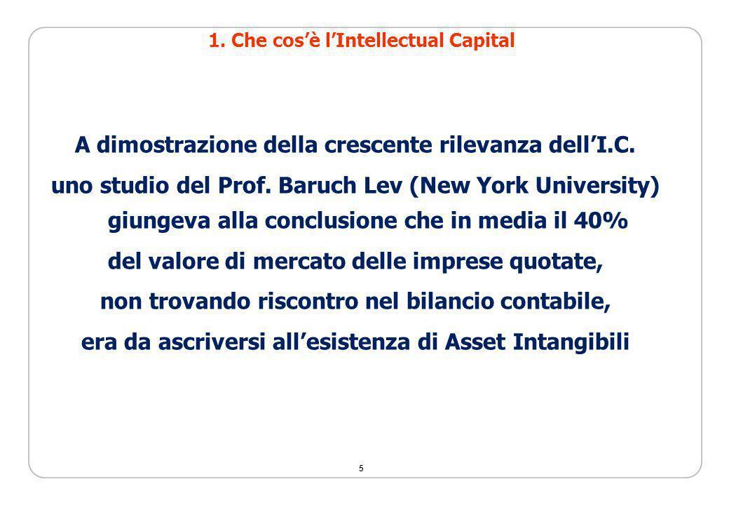 5 A dimostrazione della crescente rilevanza dellI.C. uno studio del Prof. Baruch Lev (New York University) giungeva alla conclusione che in media il 4