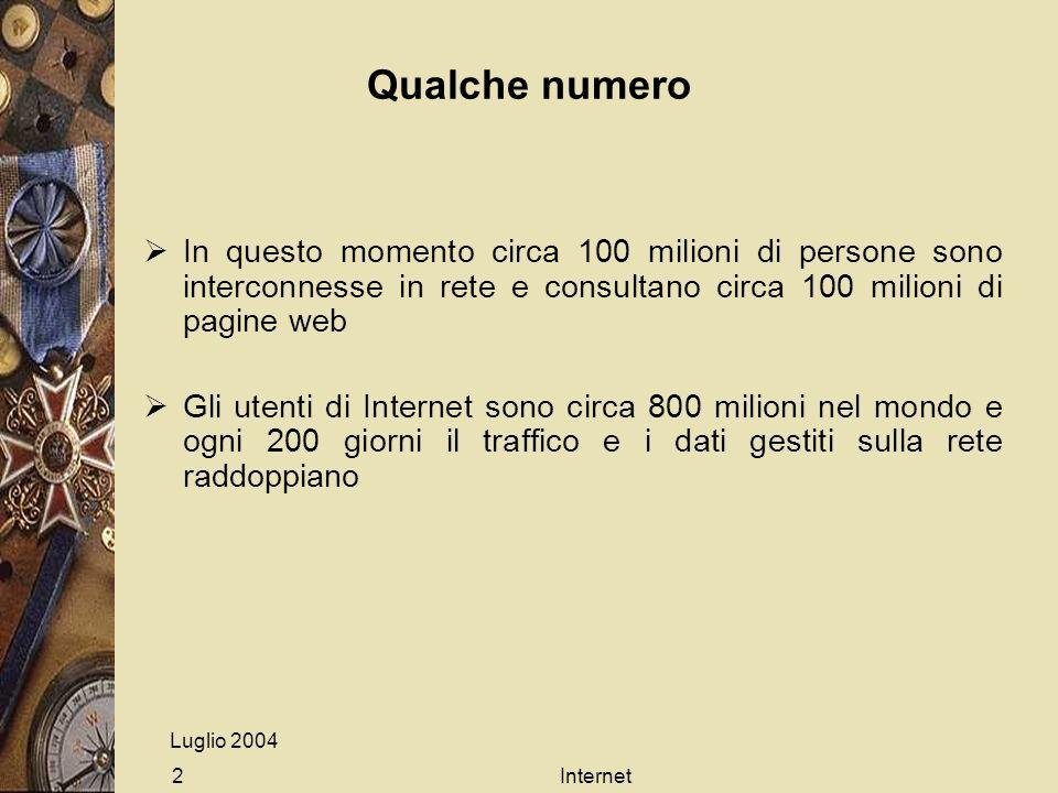 Internet2 Qualche numero In questo momento circa 100 milioni di persone sono interconnesse in rete e consultano circa 100 milioni di pagine web Gli utenti di Internet sono circa 800 milioni nel mondo e ogni 200 giorni il traffico e i dati gestiti sulla rete raddoppiano