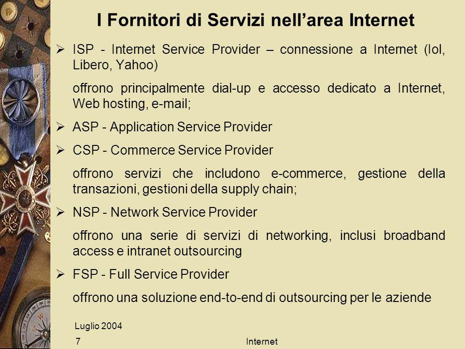 Luglio 2004 Internet7 I Fornitori di Servizi nellarea Internet ISP - Internet Service Provider – connessione a Internet (Iol, Libero, Yahoo) offrono p