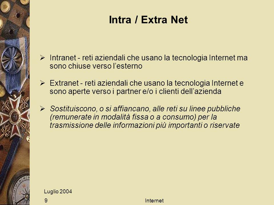 Luglio 2004 Internet9 Intra / Extra Net Intranet - reti aziendali che usano la tecnologia Internet ma sono chiuse verso lesterno Extranet - reti azien