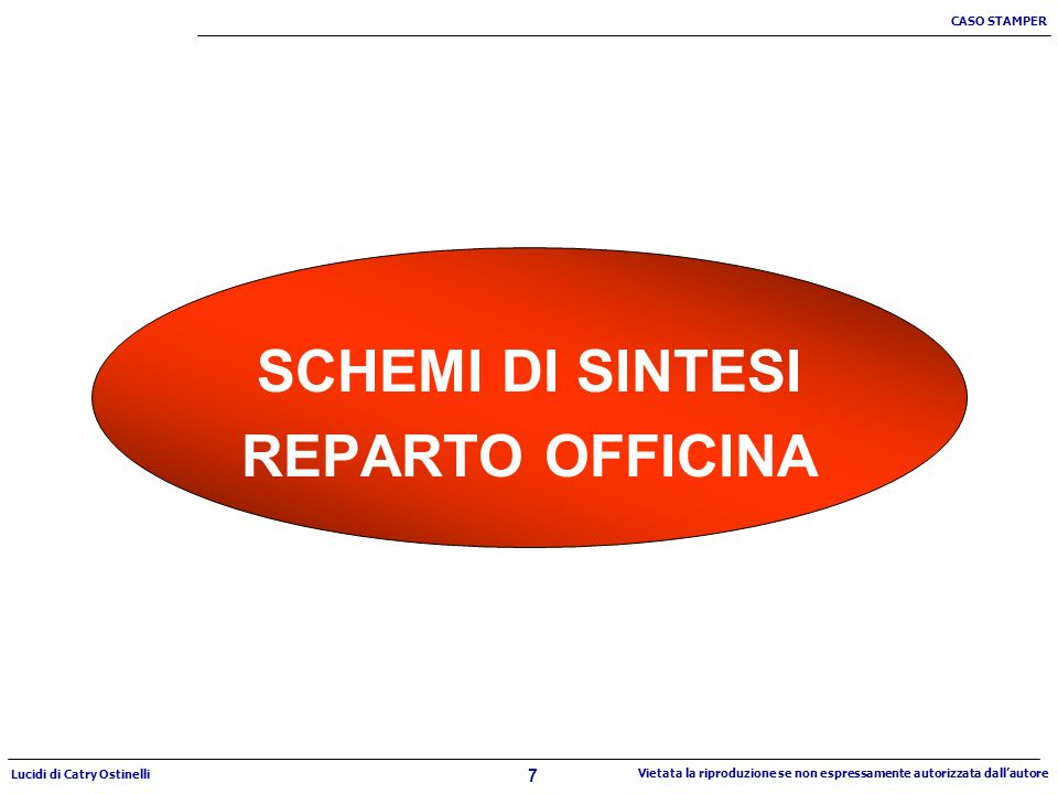 7 CASO STAMPER Lucidi di Catry Ostinelli Vietata la riproduzione se non espressamente autorizzata dallautore SCHEMI DI SINTESI REPARTO OFFICINA
