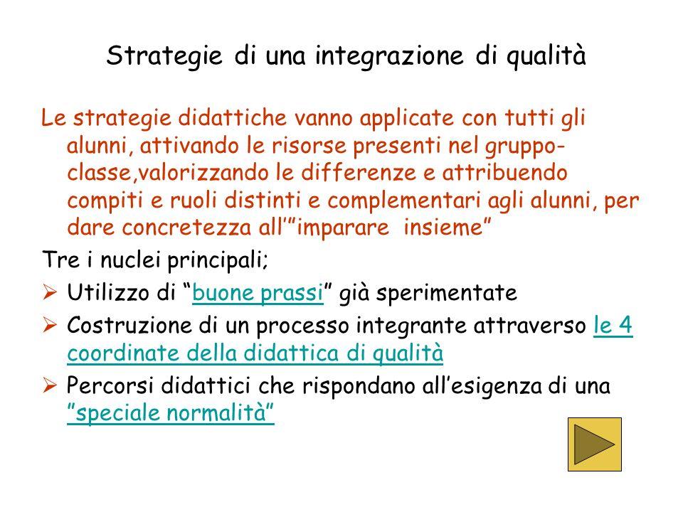 Strategie di una integrazione di qualità Le strategie didattiche vanno applicate con tutti gli alunni, attivando le risorse presenti nel gruppo- class