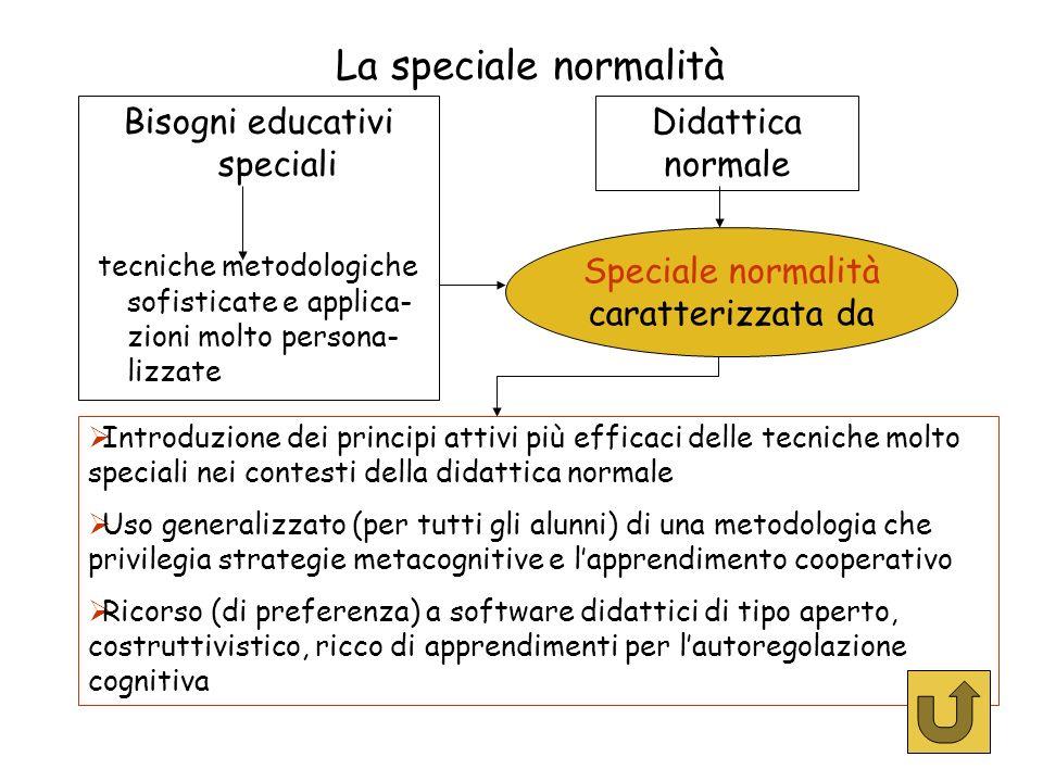 La speciale normalità Bisogni educativi speciali tecniche metodologiche sofisticate e applica- zioni molto persona- lizzate Didattica normale Introduz
