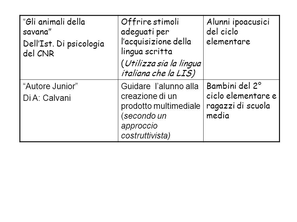 Gli animali della savana DellIst. Di psicologia del CNR Offrire stimoli adeguati per lacquisizione della lingua scritta (Utilizza sia la lingua italia