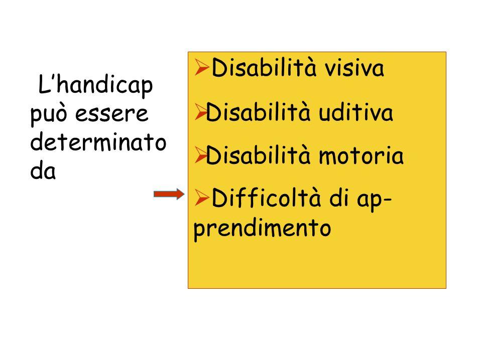 Lhandicap può essere determinato da Disabilità visiva Disabilità uditiva Disabilità motoria Difficoltà di ap- prendimento