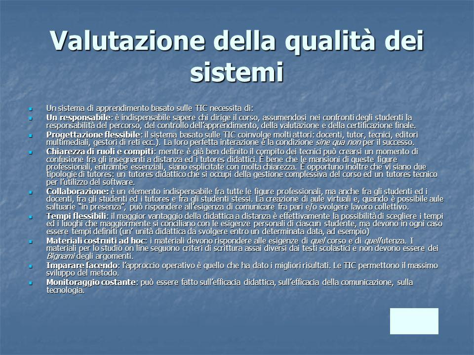 Valutazione della qualità dei sistemi Un sistema di apprendimento basato sulle TIC necessita di: Un sistema di apprendimento basato sulle TIC necessit