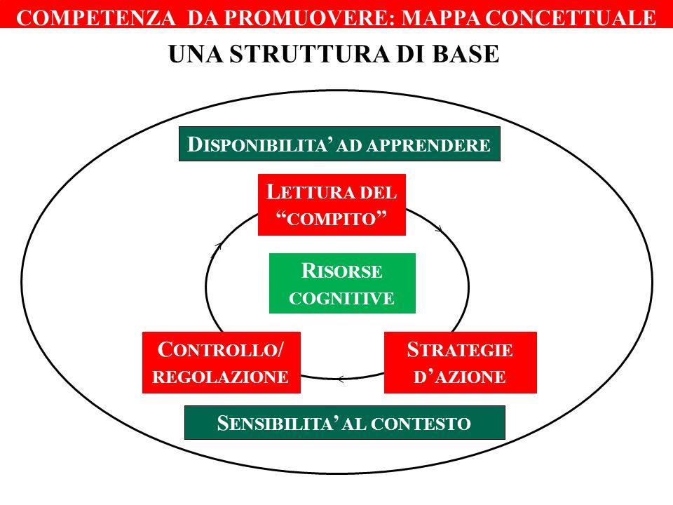 COMPETENZA DA PROMUOVERE: MAPPA CONCETTUALE UNA STRUTTURA DI BASE L ETTURA DEL COMPITO S TRATEGIE D AZIONE C ONTROLLO / REGOLAZIONE D ISPONIBILITA AD APPRENDERE S ENSIBILITA AL CONTESTO R ISORSE COGNITIVE