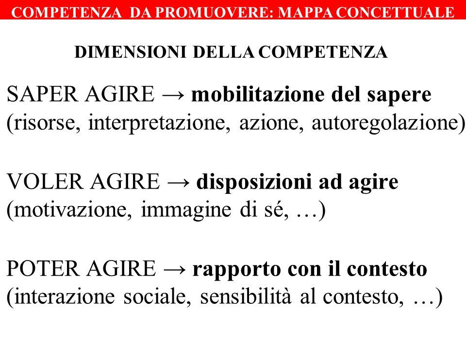 SAPER AGIRE mobilitazione del sapere (risorse, interpretazione, azione, autoregolazione) VOLER AGIRE disposizioni ad agire (motivazione, immagine di s