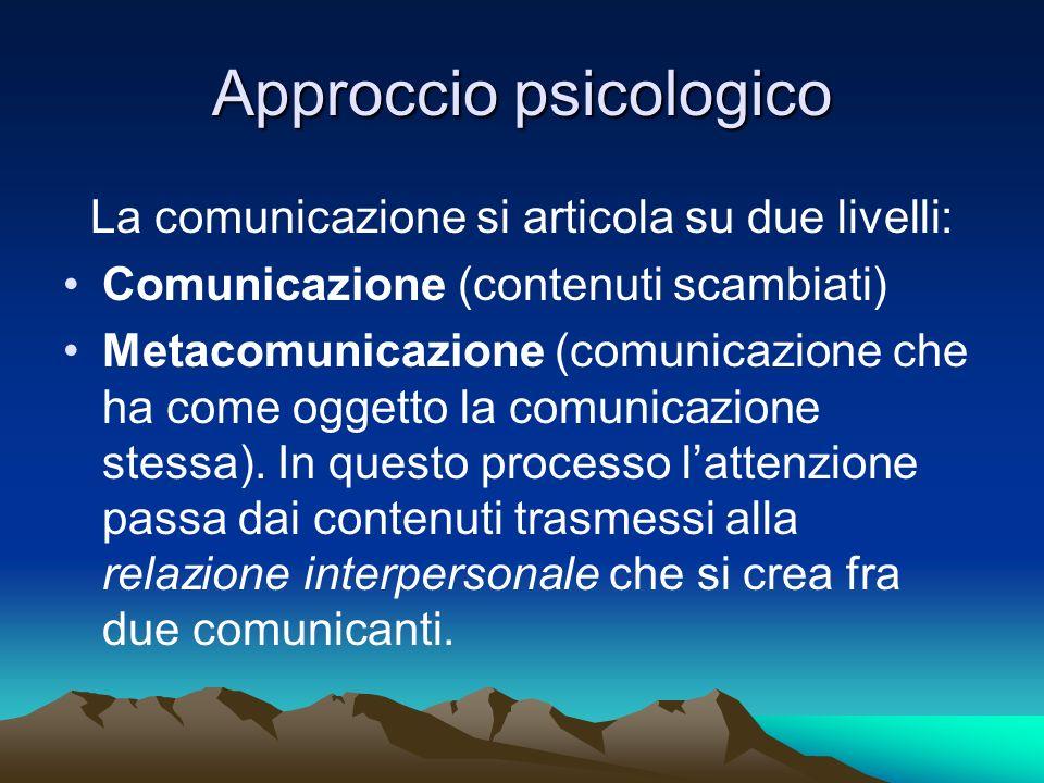 Approccio psicologico La comunicazione si articola su due livelli: Comunicazione (contenuti scambiati) Metacomunicazione (comunicazione che ha come og