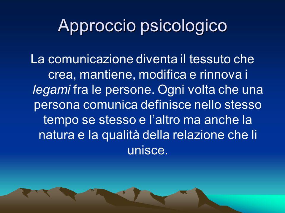 Approccio psicologico La comunicazione diventa il tessuto che crea, mantiene, modifica e rinnova i legami fra le persone. Ogni volta che una persona c