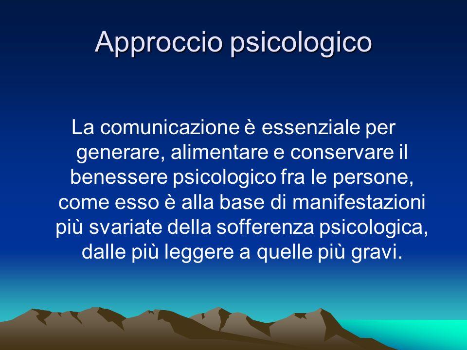 Approccio psicologico La comunicazione è essenziale per generare, alimentare e conservare il benessere psicologico fra le persone, come esso è alla ba