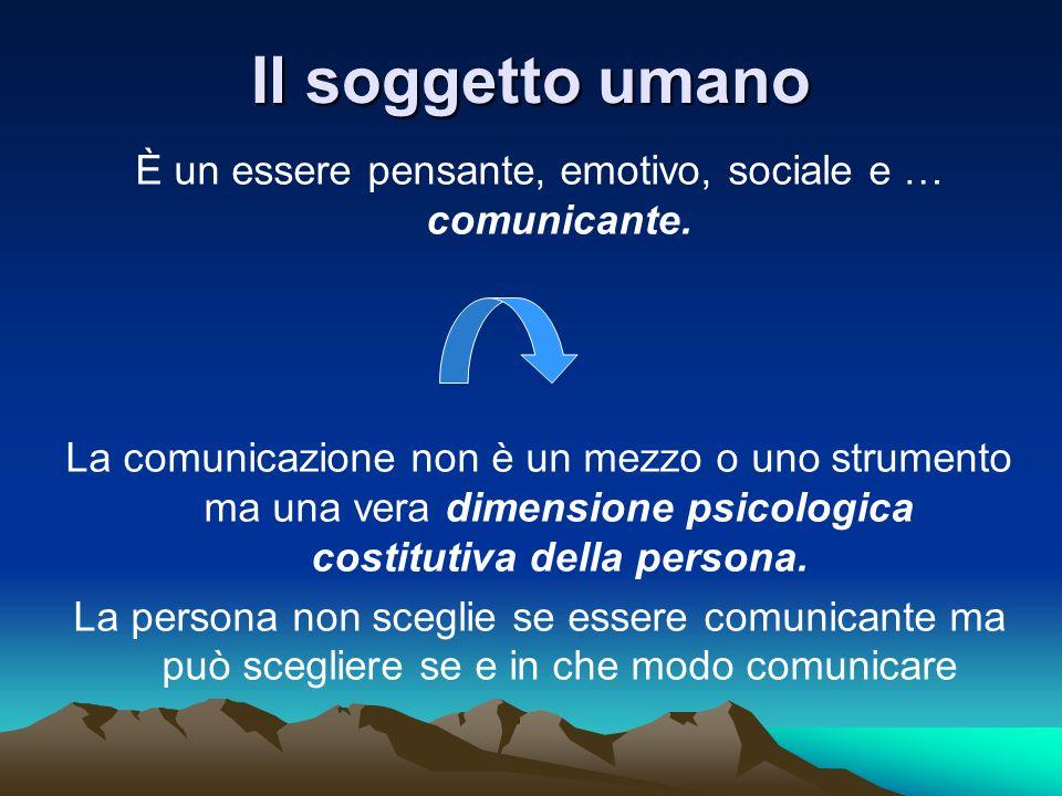 Il soggetto umano È un essere pensante, emotivo, sociale e … comunicante. La comunicazione non è un mezzo o uno strumento ma una vera dimensione psico