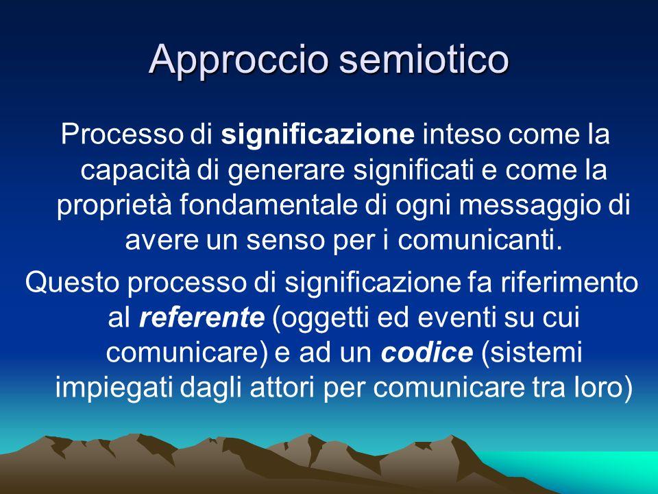 Approccio semiotico Processo di significazione inteso come la capacità di generare significati e come la proprietà fondamentale di ogni messaggio di a