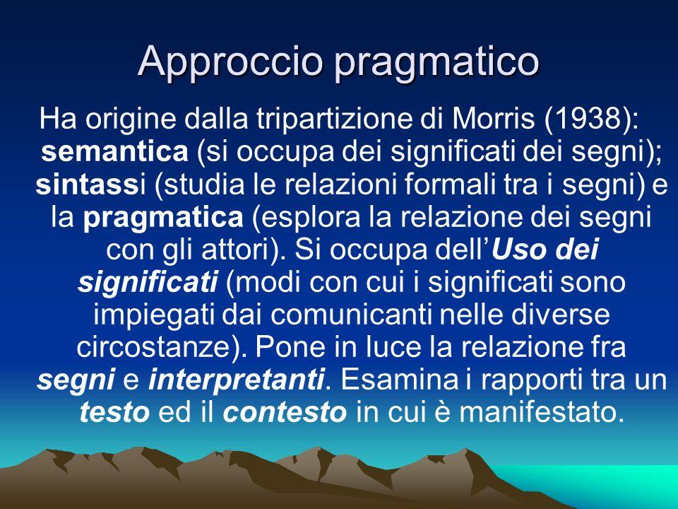 Approccio pragmatico Ha origine dalla tripartizione di Morris (1938): semantica (si occupa dei significati dei segni); sintassi (studia le relazioni f