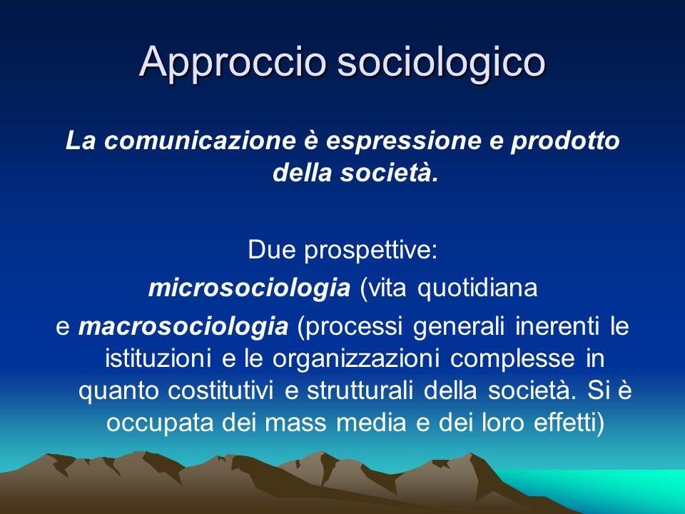 Approccio sociologico La comunicazione è espressione e prodotto della società. Due prospettive: microsociologia (vita quotidiana e macrosociologia (pr