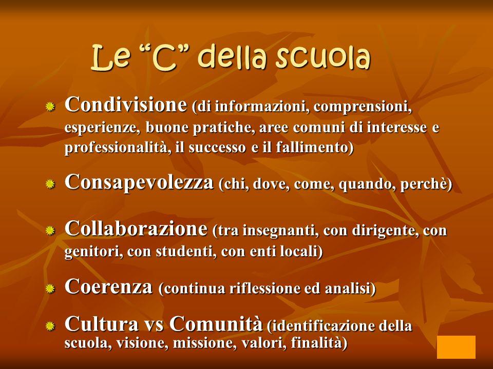 Le C della scuola Condivisione (di informazioni, comprensioni, esperienze, buone pratiche, aree comuni di interesse e professionalità, il successo e i
