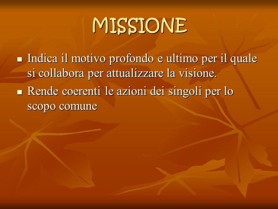 MISSIONE Indica il motivo profondo e ultimo per il quale si collabora per attualizzare la visione. Indica il motivo profondo e ultimo per il quale si