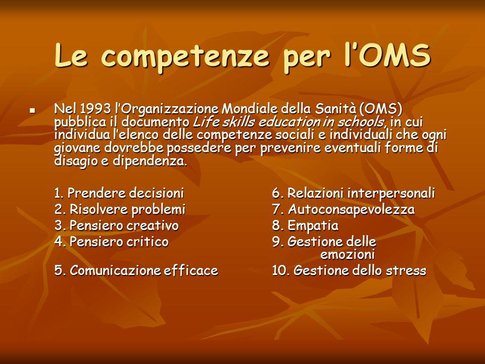 Le competenze per lOMS Nel 1993 lOrganizzazione Mondiale della Sanità (OMS) pubblica il documento Life skills education in schools, in cui individua l