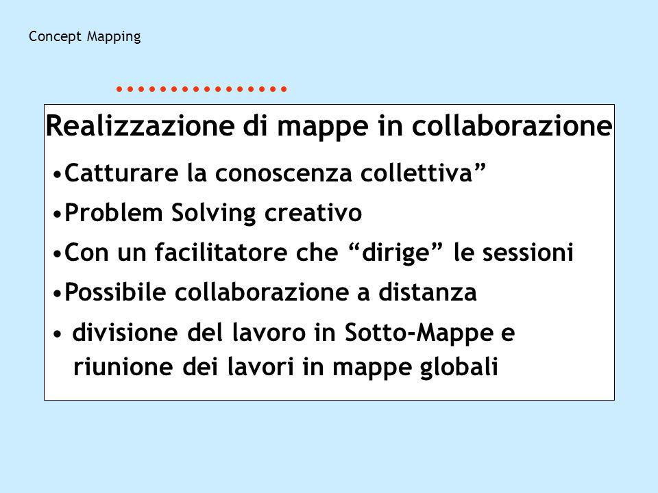 Concept Mapping Realizzazione di mappe in collaborazione Catturare la conoscenza collettiva Problem Solving creativo Con un facilitatore che dirige le