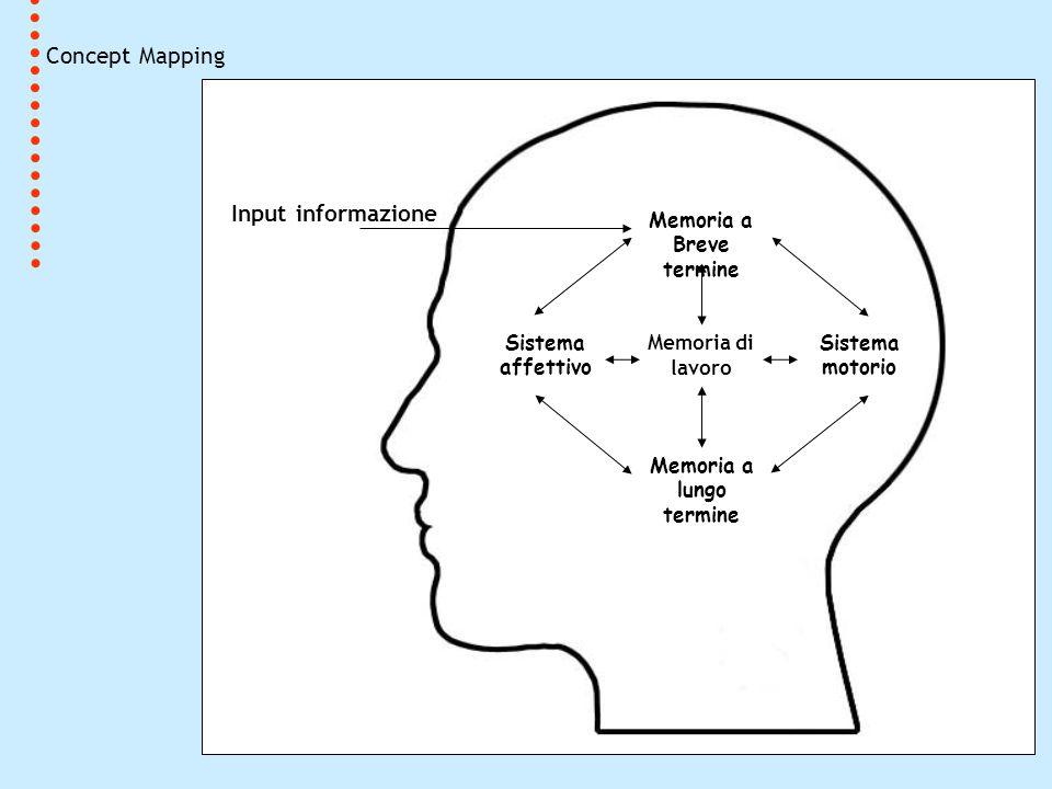 Concept Mapping Memoria a Breve termine Memoria di lavoro Sistema affettivo Sistema motorio Input informazione Memoria a lungo termine