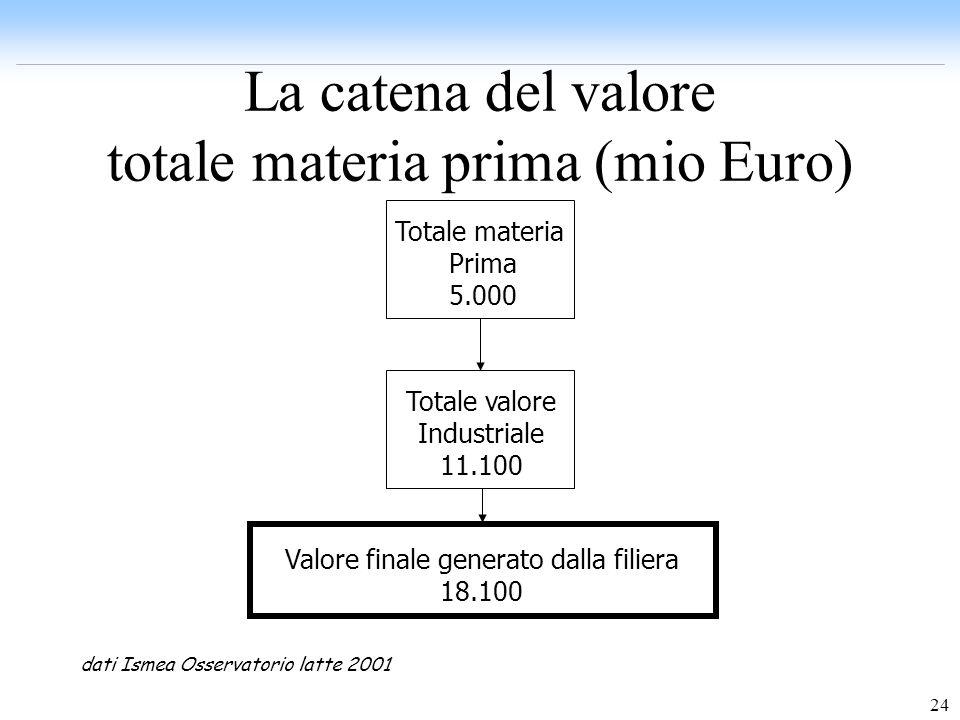 24 La catena del valore totale materia prima (mio Euro) Totale materia Prima 5.000 Totale valore Industriale 11.100 Valore finale generato dalla filie