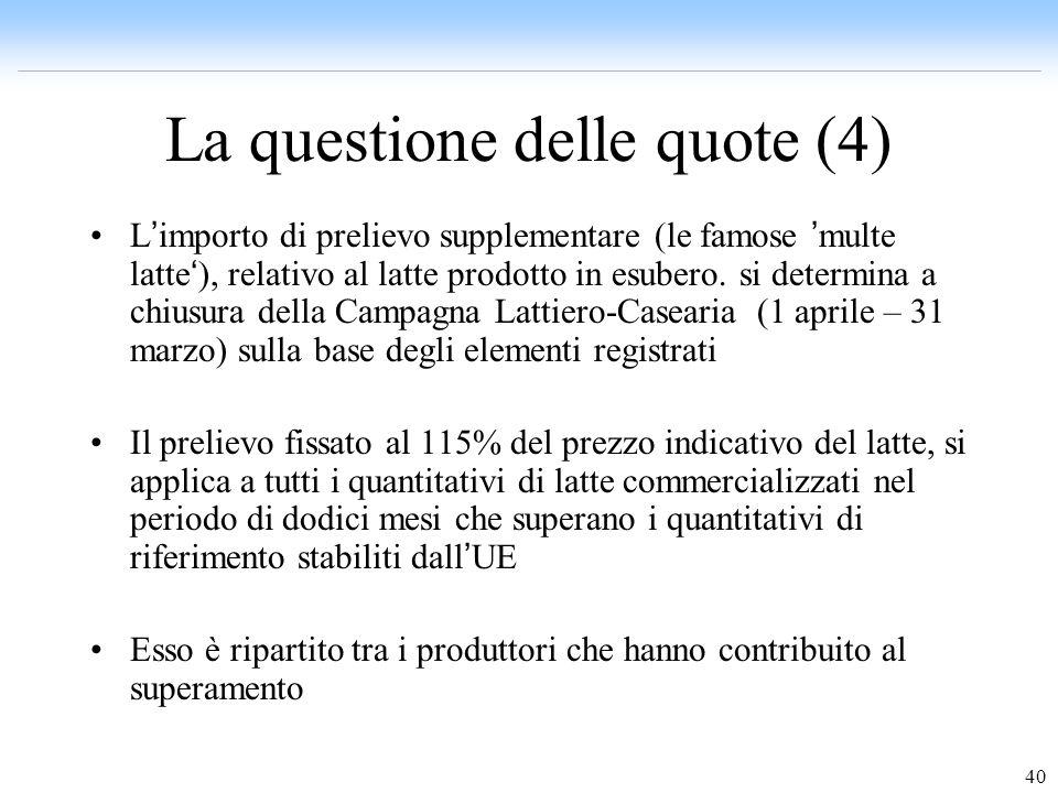 40 La questione delle quote (4) L importo di prelievo supplementare (le famose multe latte ), relativo al latte prodotto in esubero. si determina a ch